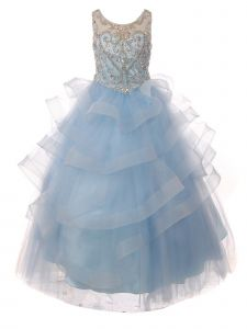 Big Girls Blue Jewel Beaded Sequin Tapered Edge Ruffle Pageant Gown 8-20