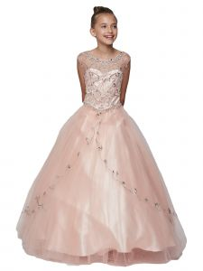Little Girls Blush Curtain Layers Stone Adorned Tulle Pageant Dress Gown 2-6
