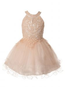 Big Girls Blush Halter Neck Rhinestone Party Tulle Flower Girl Dress 8-16