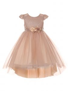 Cinderella Couture Big Girls Blush Glitter Hi-Low Junior Bridesmaid Dress 8-12