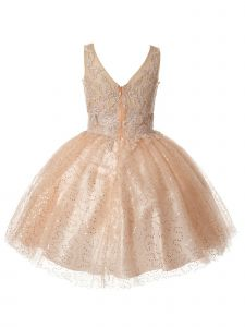 Big Girls Blush V-Neck Embroidered Beaded Party Flower Girl Dress 8-16