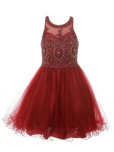Cinderella Couture Big Girls Burgundy Beaded Tulle Special Occasion Dress 8-20