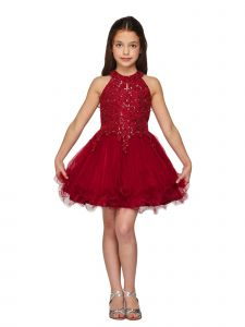 Big Girls Burgundy Halter Neck Rhinestone Party Tulle Flower Girl Dress 14