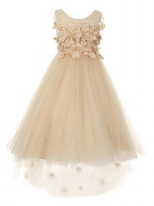 Little Girls Champagne 3D Flower Adorned High-Low Tulle Flower Girl Dress 2-6