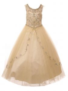 Big Girls Champagne Curtain Layers Stone Adorned Tulle Pageant Dress Gown 8-20