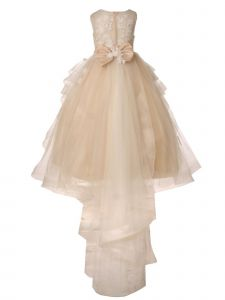 Big Girls Champagne Lace Applique Sequin Train Tail Flower Girl Dress 8-16