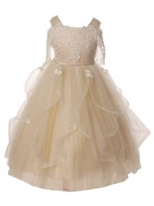 Big Girls Champagne Pearl Lace Tea-Length Junior Bridesmaid Dress 8-16