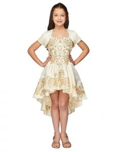 Big Girls Champagne Removable A-line Skirt Bolero 3 Pc Pageant Dress Gown 8-16
