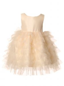 Baby Girls Champagne Twill Satin Bow Tulle Ruffled Flower Girl Dress 6-24M