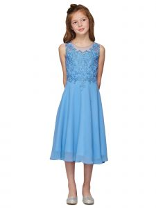 Girls Dusty Blue Rhinestone Coiled Lace Chiffon T-Length Flower Girl Dress 6-16