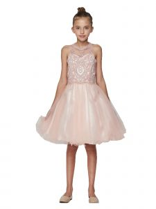 Cinderella Couture Little Girls Dusty Pink Beaded Tulle Flower Girls Dress 4-6