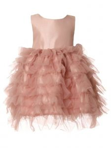 Baby Girls Dusty Rose Twill Satin Bow Tulle Ruffled Flower Girl Dress 6-24M
