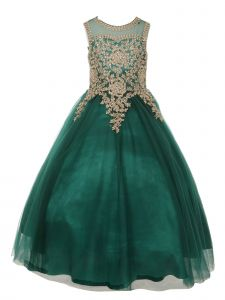 Big Girls Hunter Green Rhinestone Embroidered Junior Bridesmaid Dress 8-16
