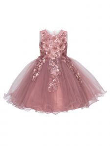 Cinderella Couture Little Girls Mauve 3D Floral Tulle Flower Girl Dress 2- 6
