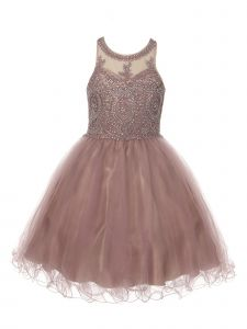 Cinderella Couture Little Girls Mauve Beaded Short Tulle Flower Girls Dress 4-6