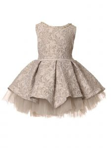Baby Girls Mauve Pearl Stone Embossed Jacquard Pleated Flower Girl Dress 6-24M