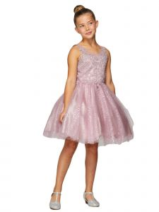 Little Girls Mauve V-Neck Embroidered Beaded Party Flower Girl Dress 2-6