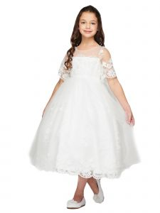 Little Girls Off-White Elegant Antique Lace Tail Flower Girl Dress 2-6