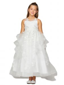 Little Girls Off-White Lace Applique Sequin Train Tail Flower Girl Dress 2-6