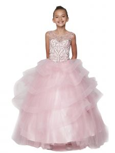 Little Girls Pink Jewel Beaded Sequin Tapered Edge Ruffle Pageant Gown 2-6