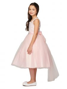 Big Girls Pink Pearl Beaded Lace Brooch Tail Tulle Flower Girl Dress 8-16