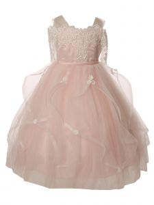 Big Girls Pink Pearl Lace Tea-Length Junior Bridesmaid Dress 8-16