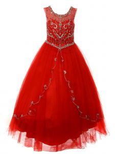 Big Girls Red Curtain Layers Stone Adorned Tulle Pageant Dress Gown 8-20