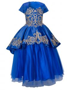 Big Girls Royal Blue Removable A-line Skirt Bolero 3 Pc Pageant Dress Gown 8-16