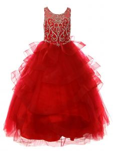 Big Girls Scarlet Red Jewel Beaded Sequin Tapered Edge Ruffle Pageant Gown 8-20