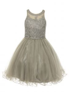 Cinderella Couture Big Girls Silver Beaded Short Tulle Christmas Dress 14