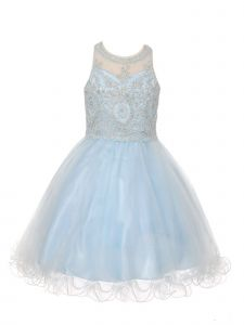 Cinderella Couture Big Girls Sky Blue Beaded Tulle Special Occasion Dress 20