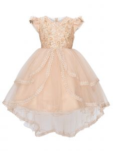 Cinderella Couture Little Girls Taupe Hi Low Sequins Lace Flower Girl Dress 2-6