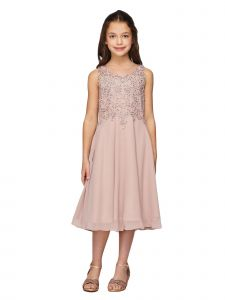 Girls Multi Color Rhinestone Coiled Lace Chiffon T-Length Flower Girl Dress 6-16
