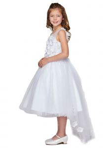 Big Girls White 3D Flower Adorned High-Low Tulle Flower Girl Dress 8-16