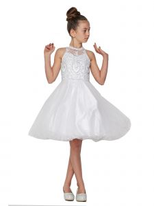 Cinderella Couture Big Girls White Beaded Short Tulle Special Occasion Dress 12