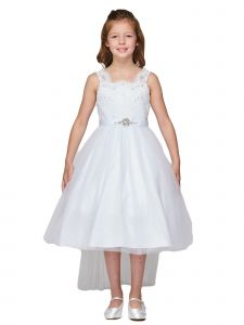 Big Girls White Pearl Beaded Lace Brooch Tail Tulle Flower Girl Dress 8-16