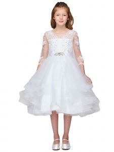 Little Girls White Pearl Rhinestone Brooch Lace Flower Girl Dress 2-6