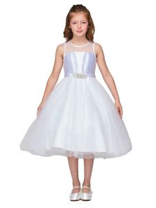 Girls Multi Color Satin Pleated Sequin Tulle Flower Girl Dress 2-16