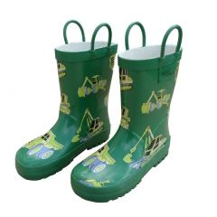 Green Construction Toddler Boys Rain Boots 5-10