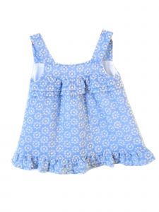 Coquelicot Little Girls Blue Embroidered Amalfi Gasa Bordada Dress 2T-6