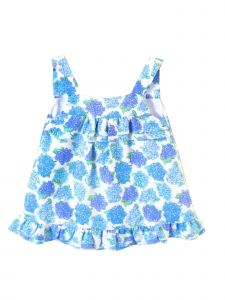 Coquelicot Little Girls White Blue Floral Amalfi Linen Powerty Malva Dress 2T-6