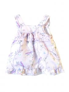 Coquelicot Little Girls Pink Floral Amalfi Linen Powerty Rosa Dress 3T-6