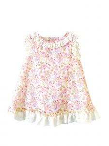 Coquelicot Girls Pink Spanish Lace Trim Bali Bamby Lined Dress 3M-2T