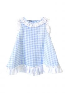 Coquelicot Girls White Blue Lace Trim Bali Gasa Doble Cuadritos Dress 3M-2T