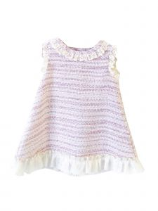 Coquelicot Girls Pink Spanish Lace Trim Bali Monaco Jacquard Dress 3M-2T