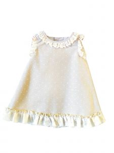 Coquelicot Girls Beige Spanish Lace Trim Bali Shirt Plumi Dress 3M-2T