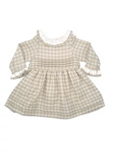 Coquelicot Baby Girls Beige Contrast Collar Checkered Pleated Dress 3-18M
