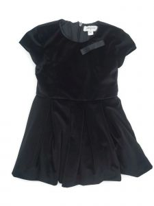 Coquelicot Little Girls Black Velvet Ribbon Bow Accent Knee Length Dress 2T-5