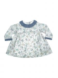 Coquelicot Girls Blue Floral Print Contrast Collar Stylish Dress 3M-2T
