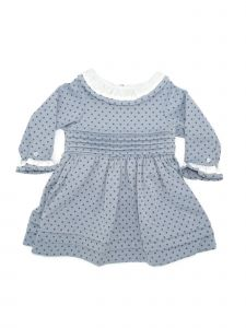 Coquelicot Girls Blue Contrast Collar Stylish Pleated Dress 3M-2T